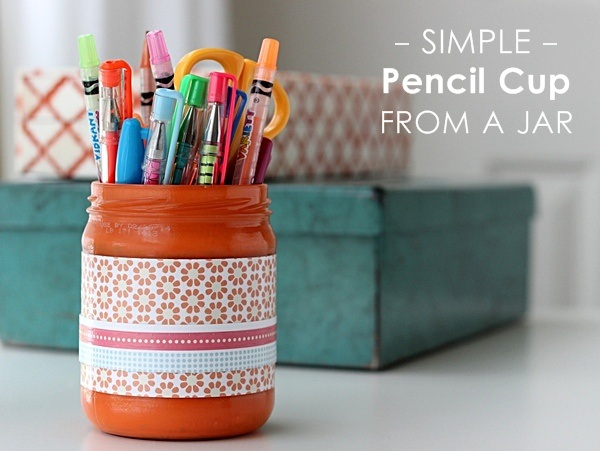 Simple pencil cup from a jar