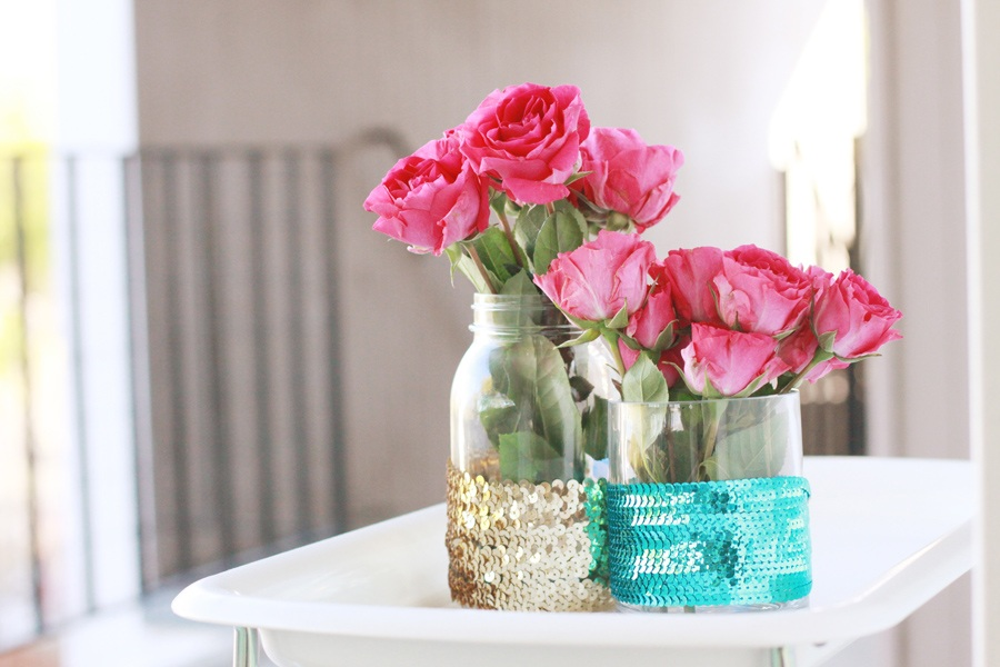 DIY Sequined Vases