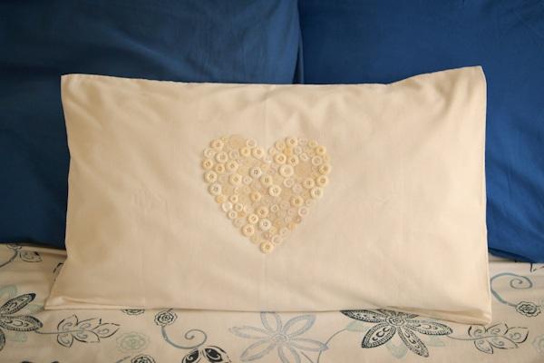 Loving...button heart pillow