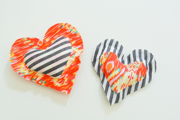 Easy No Sew Fabric Heart Pillows for Valentine's Day