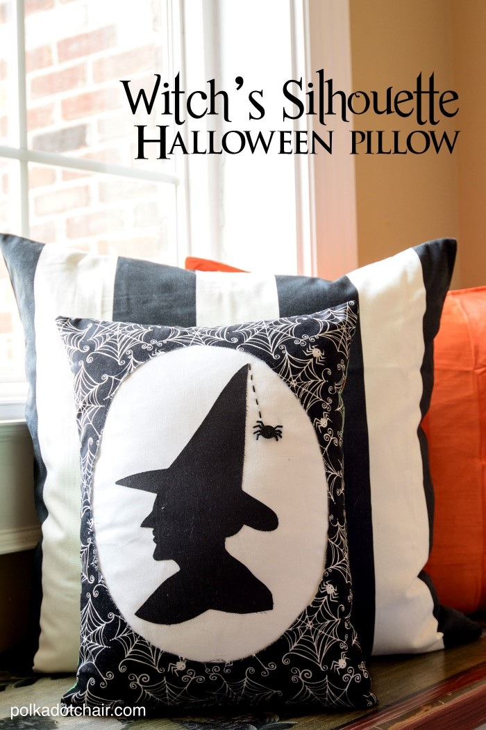 Witch's Silhouette Halloween Pillow Free Sewing Pattern