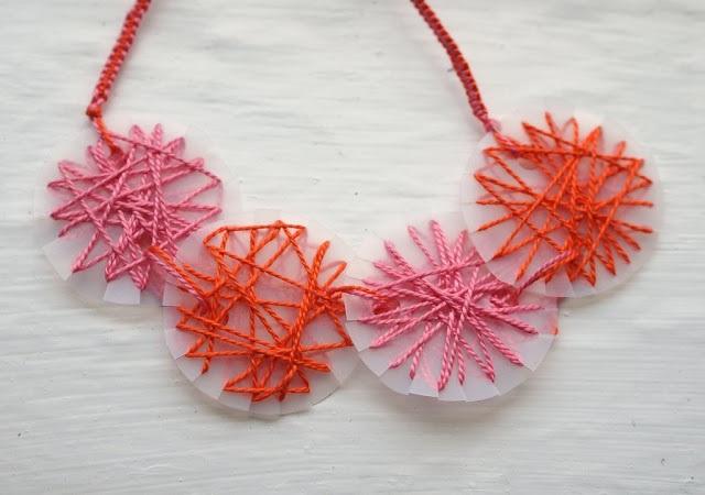 String art thread and milk jug necklace