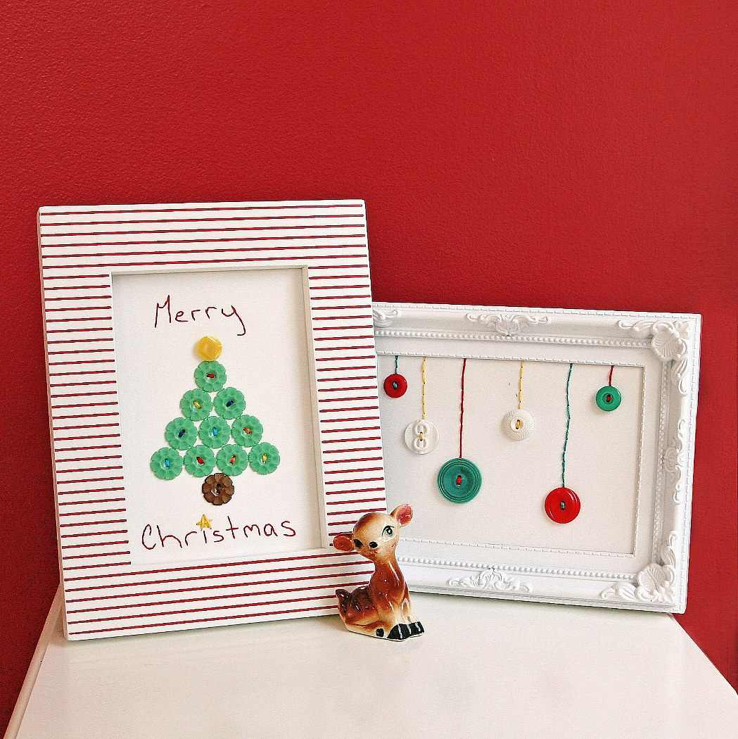 DIY Holiday Themed Framed Vintage Buttons