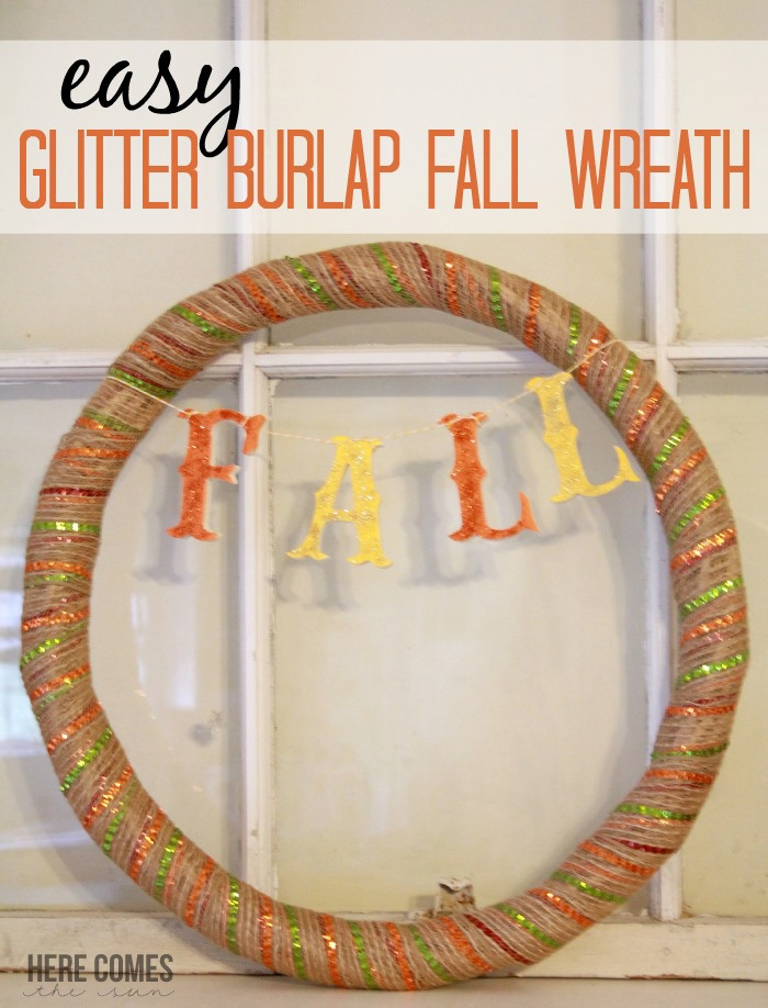 Easy Glitter Burlap Fall Wreath