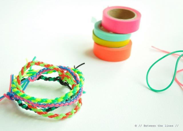 Colorful four strand round braid bracelets DIY