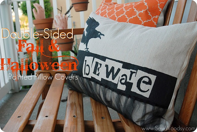 Double Sided Fall Halloween Painted Pillows {tutorial}