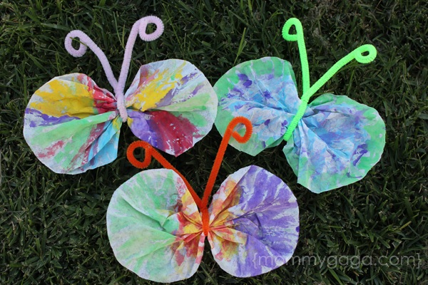 Spring Crafts for Kids Coffee Filter Butterfly Craft