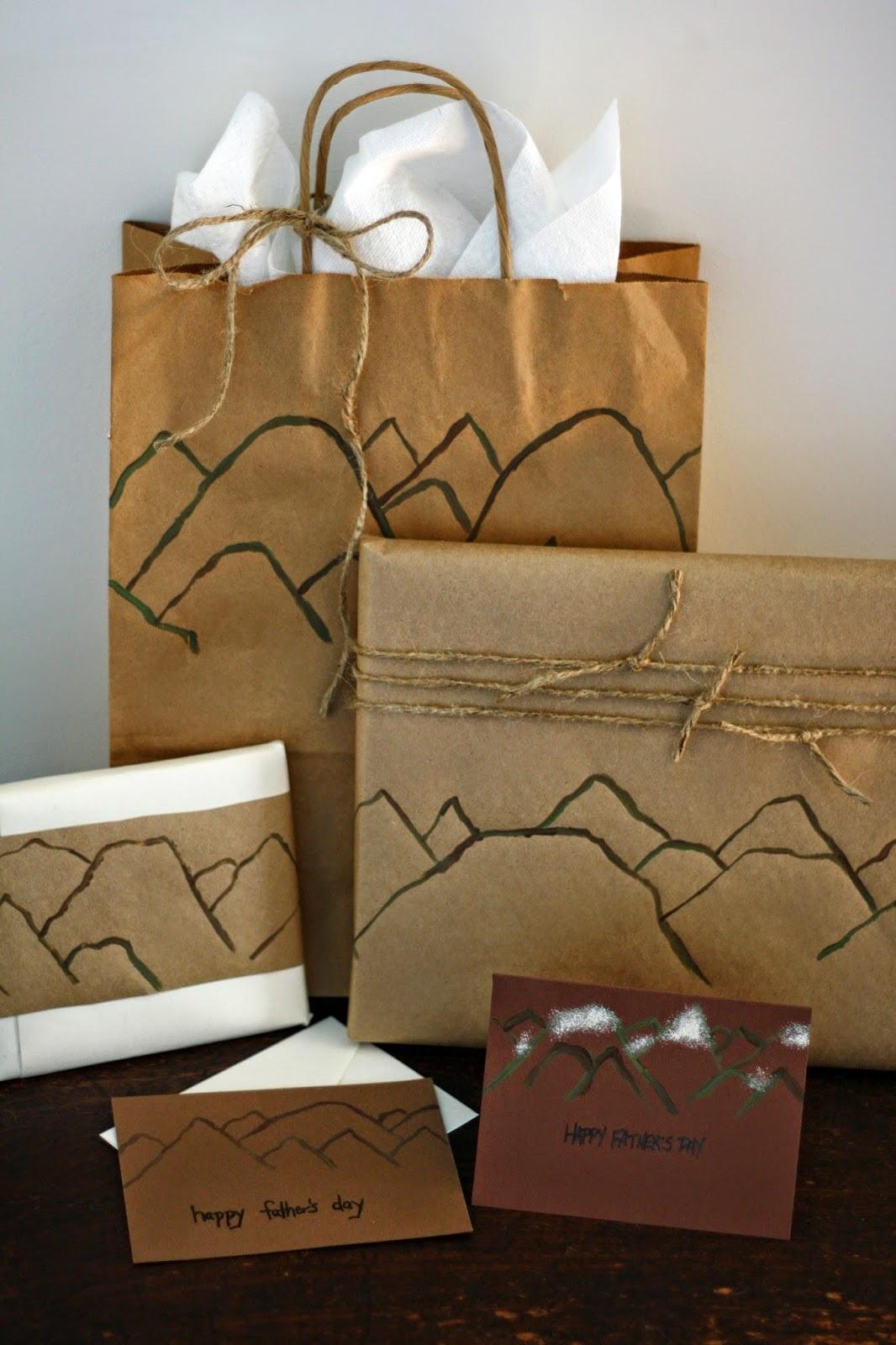 Diy painted mountain gift wrap