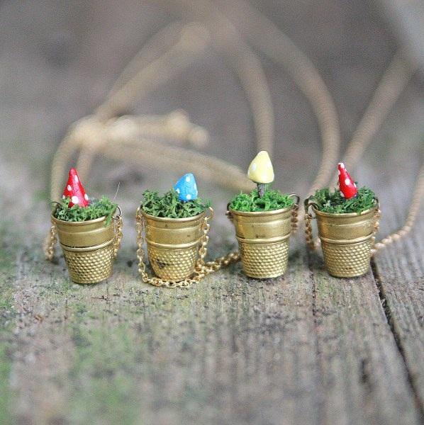 DIY Mini Vintage Thimble Planter Necklaces