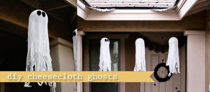 (diy tutorial) cheesecloth ghosts