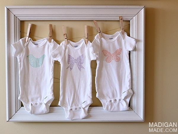 Simple Stenciled Baby Onesie Idea ~ Madigan Made