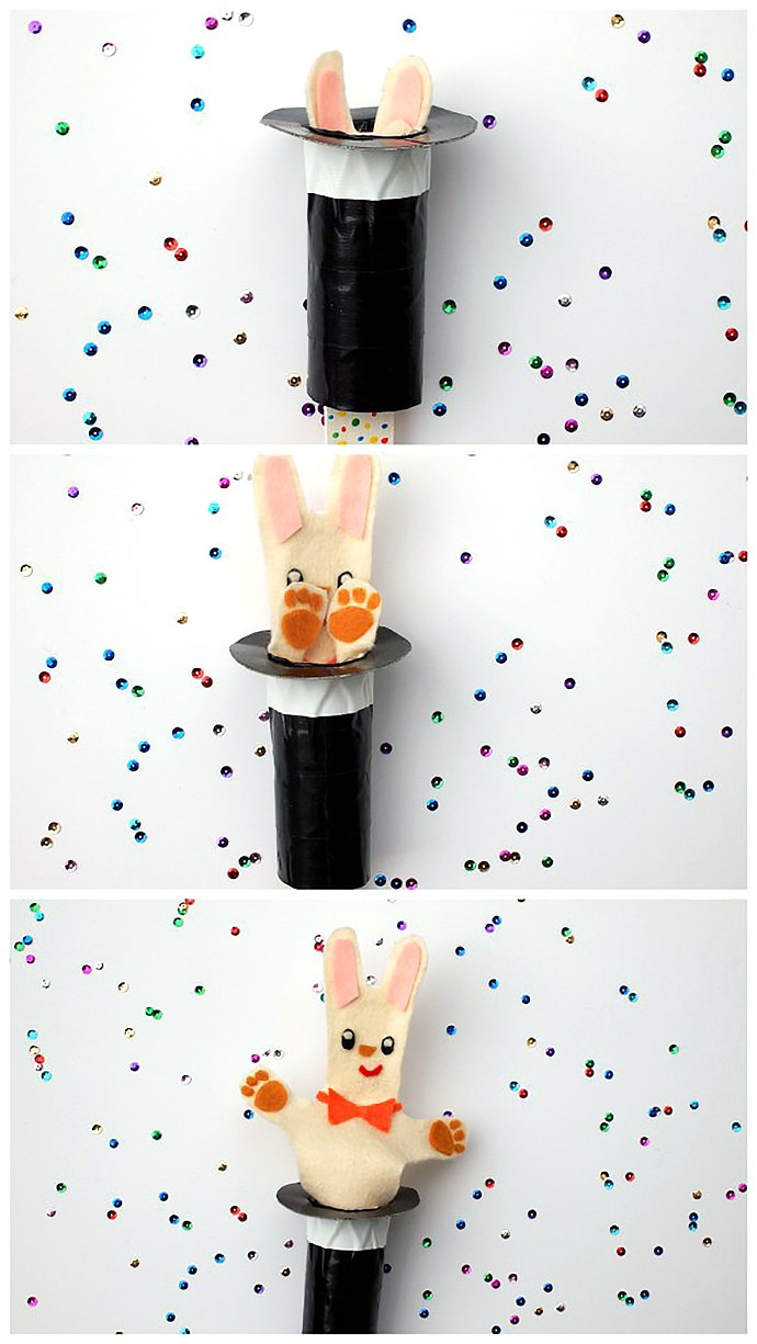 DIY Rabbit In The Hat Pop Up Puppet