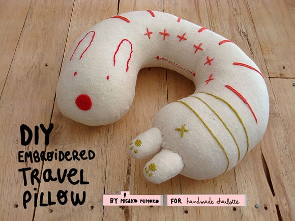 DIY Embroidered Travel Pillow