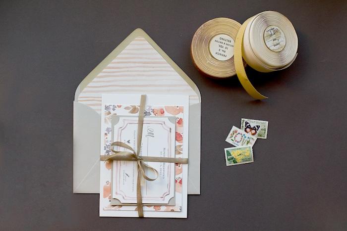 DIY Tutorial Watercolor Floral Pattern Wedding Invitations
