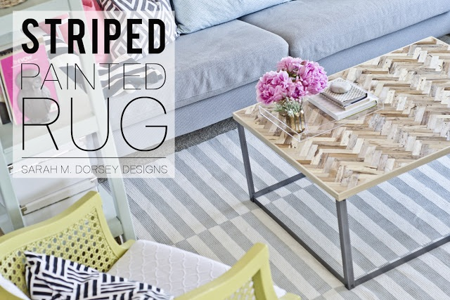 Sarah m. dorsey designs DIY Striped Painted Rug in about 2.5 Hours!