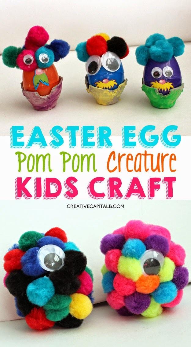 Easter Egg Kid Craft Pom Pom Creatures