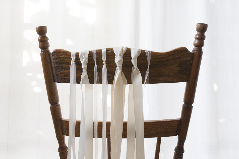 DIY White Ribbon Wedding Chairs
