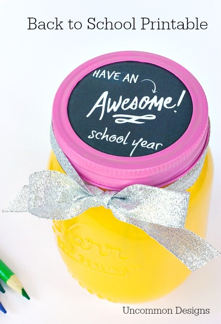 Back to School Mason Jar Printable