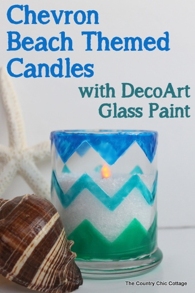 Chevron Beach Themed Candle Holders plus a $200 giveaway * THE COUNTRY CHIC COTTAGE (DIY, Home Decor, Crafts, Farmhouse)