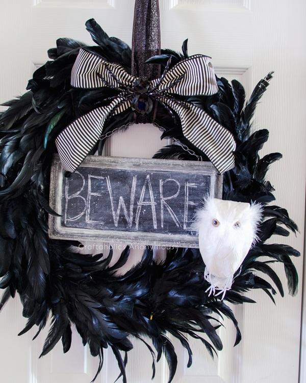 Black Feather Halloween Wreath