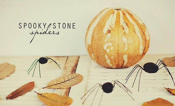 Simple halloween craft spooky stone spiders