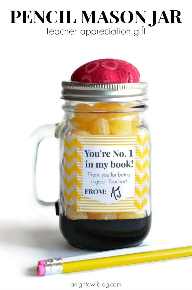 Pencil Mason Jar Teacher Appreciation Gifts