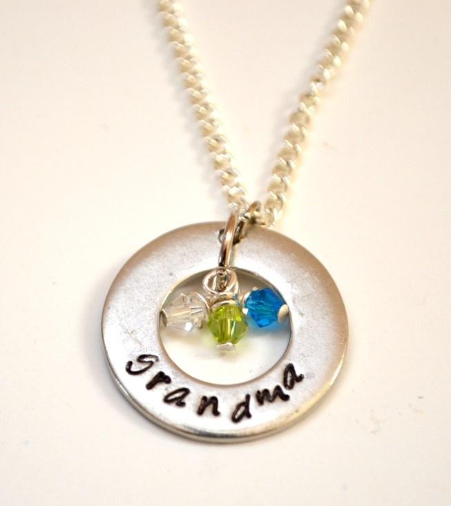 Stamped Birthstone Necklace