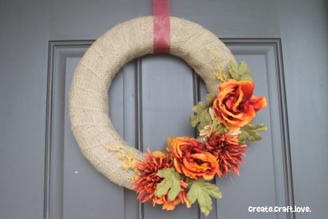 Simple Burlap Fall Wreath