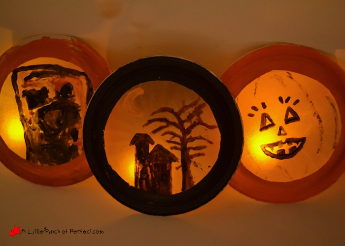Glowing Halloween Luminaries Easy Paper Plate and Coffee Filter Craft for Kids
