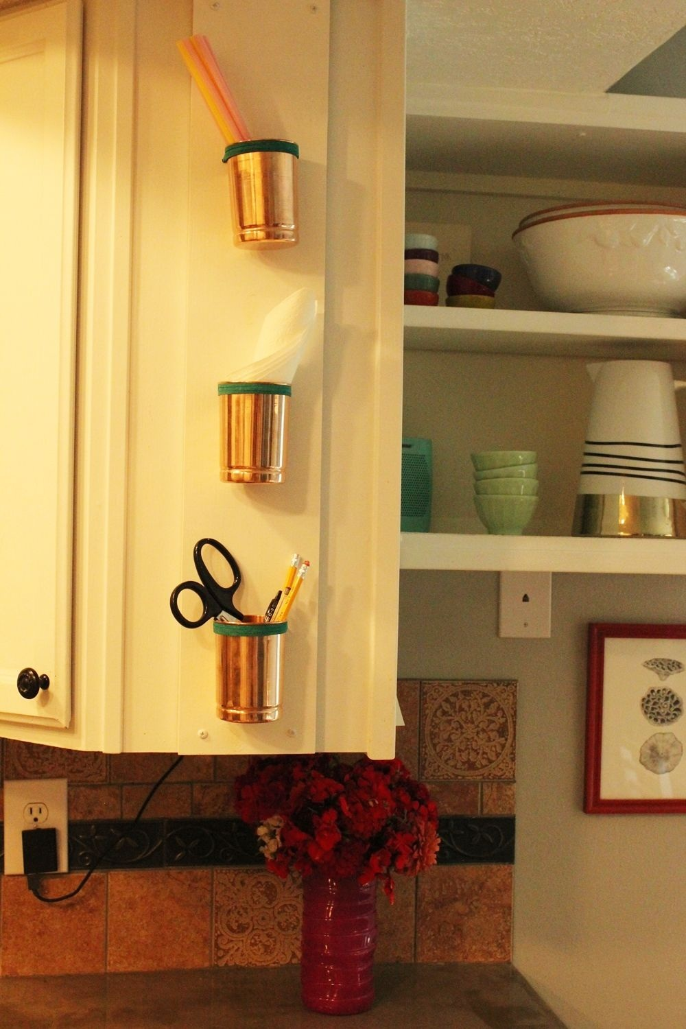 Versatile and Chic ¨C DIY Copper Cup and Leather Kitchen Organizer