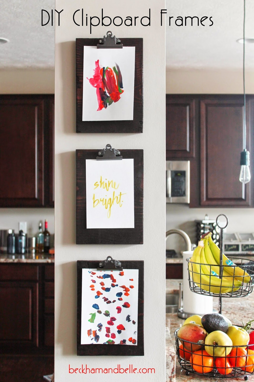 DIY Clipboard Frame Gallery a place other than your fridge to hang the kids' artwork...