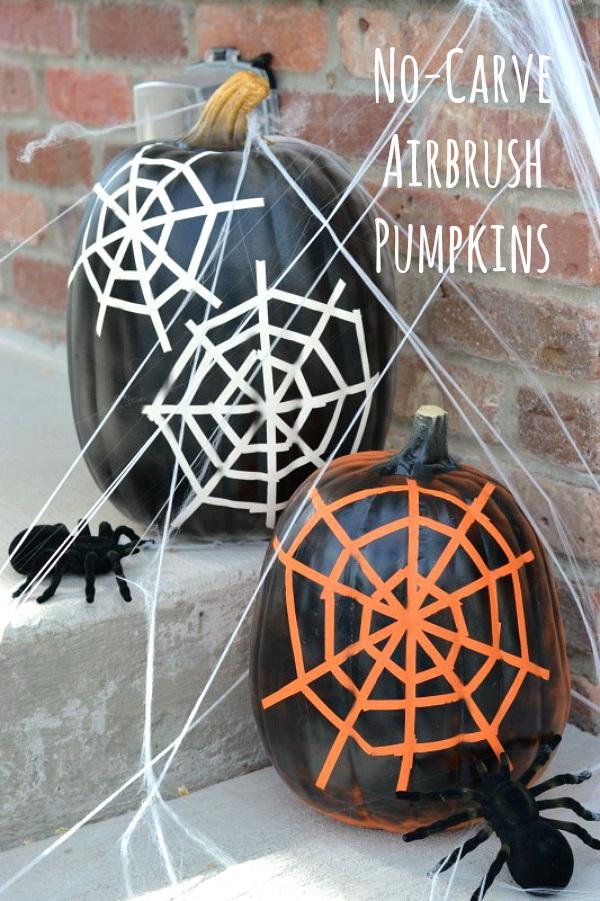 No Carve Spider Web Pumpkins
