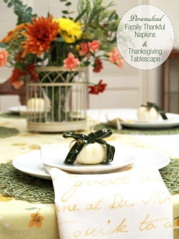 Personalized Thankful Napkins and Thanksgiving Tablescape