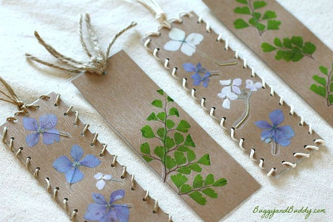 Bookmark Craft for Kids Using Pressed Flowers and Leaves