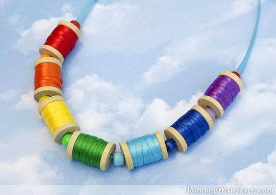 Kid Craft! Rainbow Spool Necklace