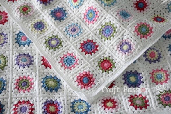 Sunburst Granny Square Blanket Free Crochet Pattern Craftsmile