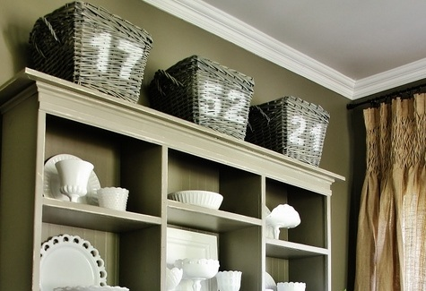 Spray Painted Numbered Baskets
