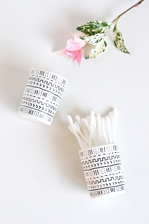 Make your decor Repurposed mud cloth votives for Today's Creative Blog