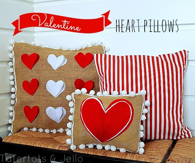 Pom Pom Heart Pillows