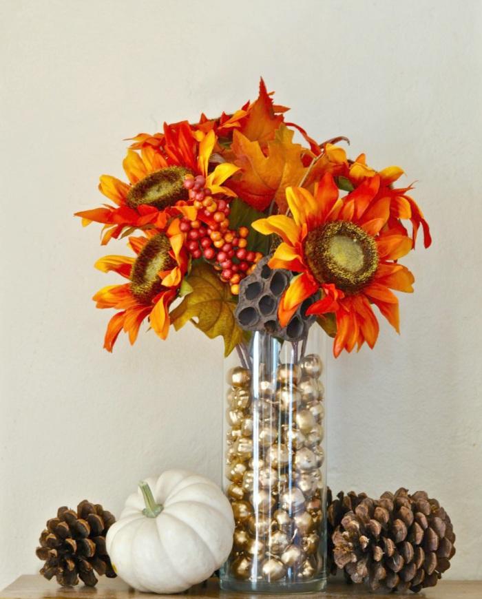 DIY Vase Filler Gold Pumpkins Centerpiece