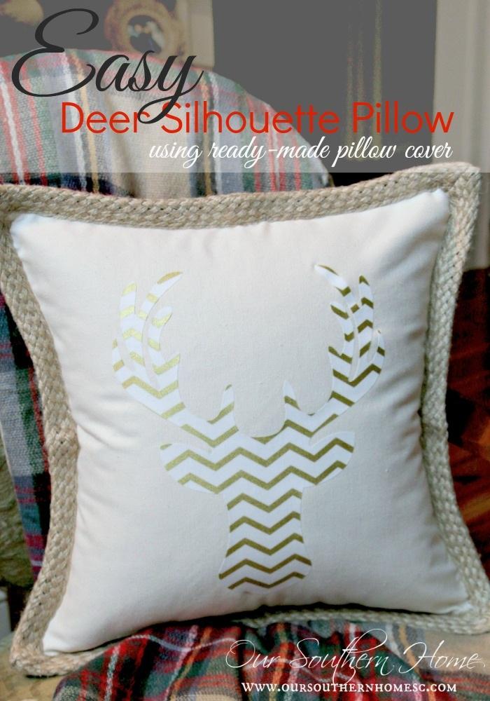 Deer Head Silhouette Pillow
