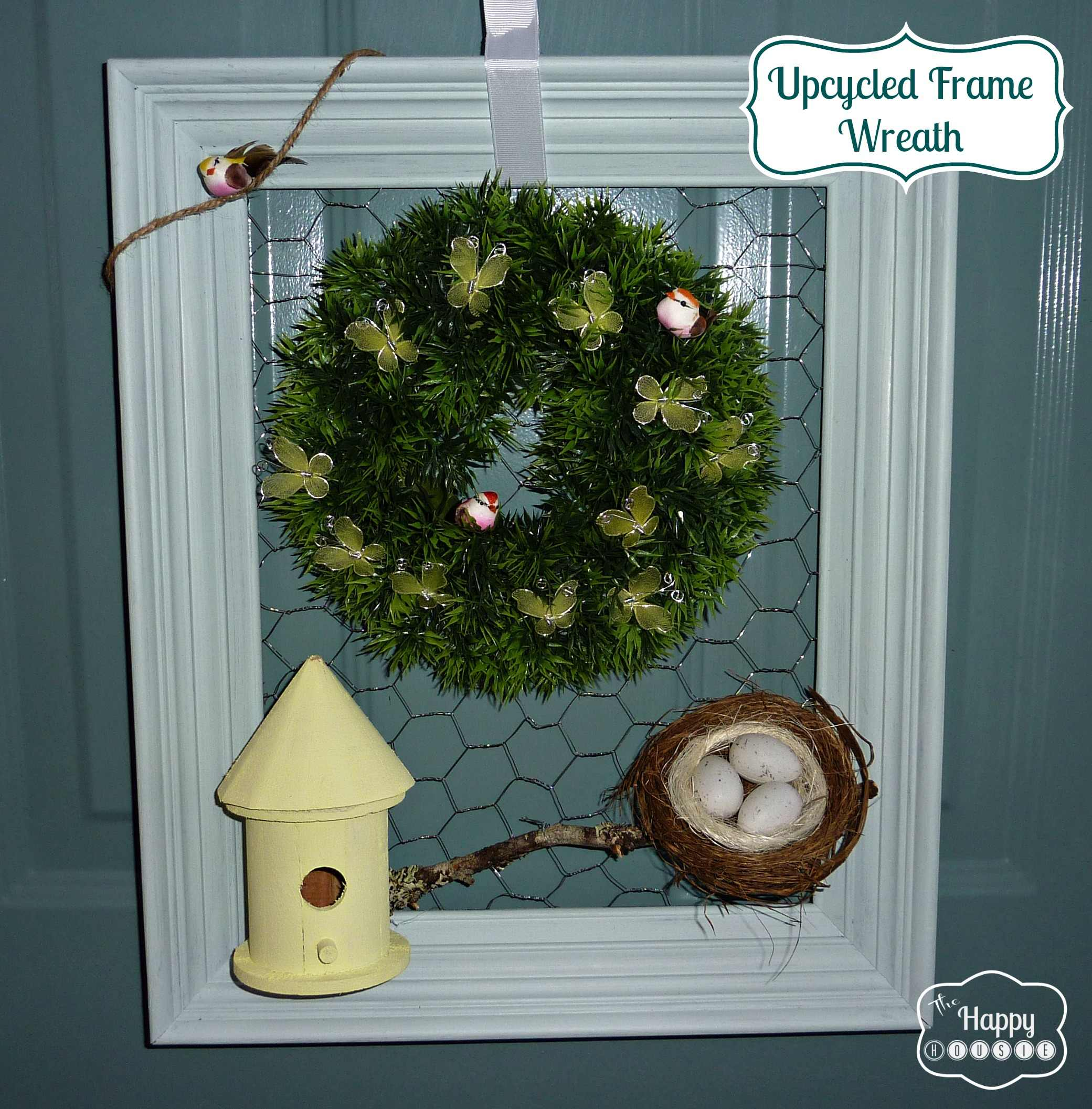 4F Craftin' Upcycled Vintage Frame Wreath for Spring