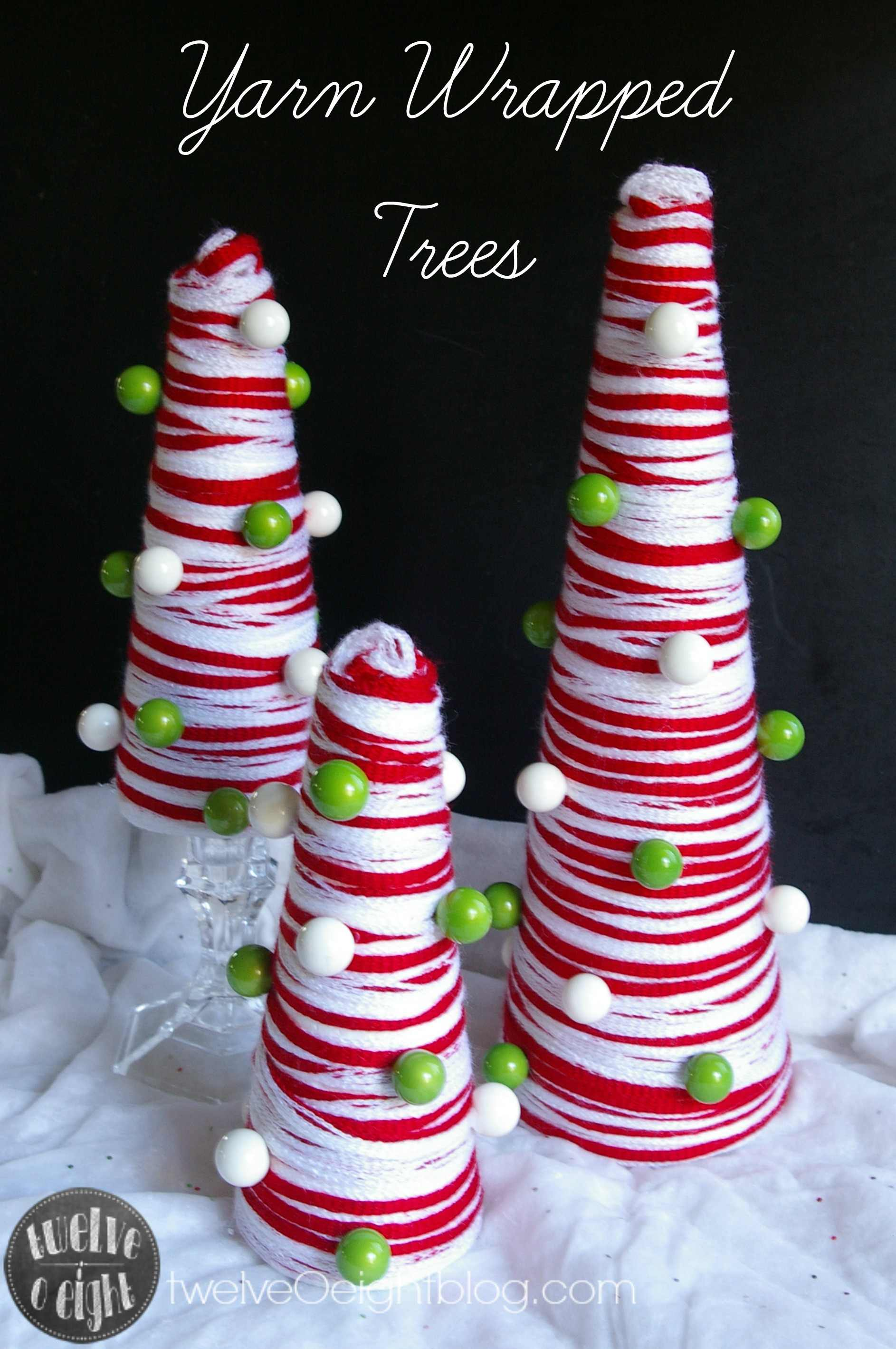 DIY Yarn Wrapped Christmas Trees Make it with Michael's challenge