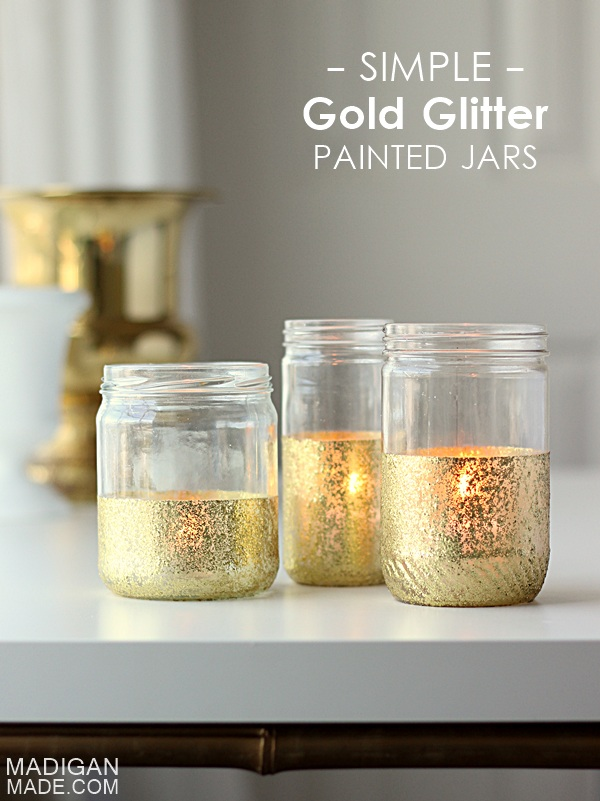 Glitter and Gold Dipped Jar Candles ~ Madigan Made