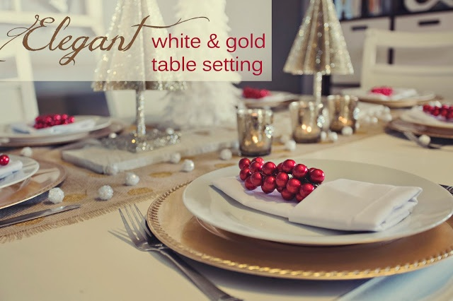 Elegant White and Gold Table Setting