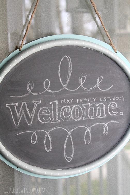 DIY Hanging Chalkboard Welcome Door Sign