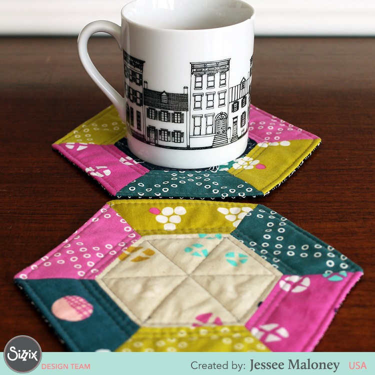Pieced Hexagon Mug Rugs by Jessee Maloney