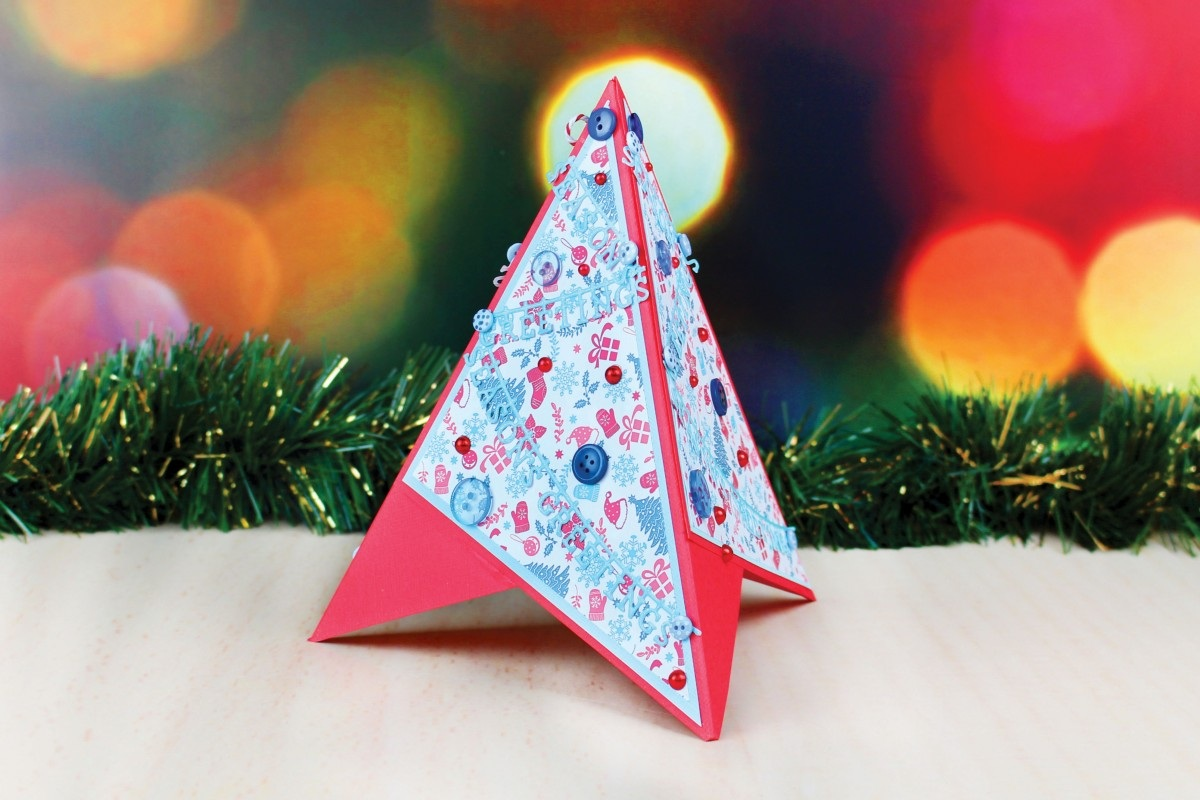 Die Cut Christmas Tree Pyramid Card