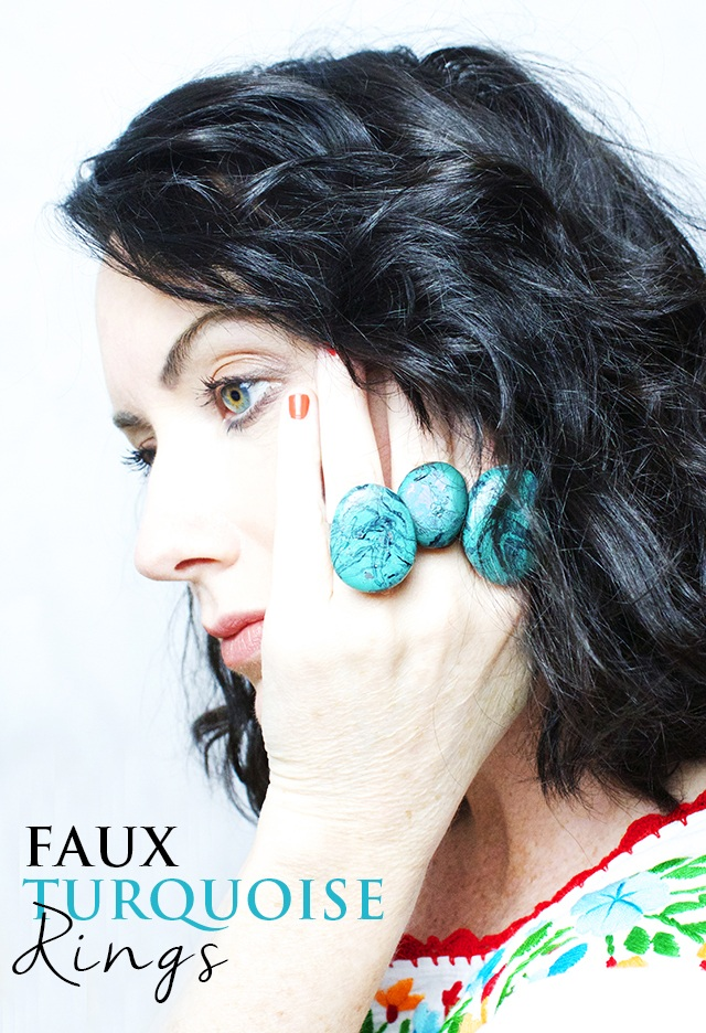 Faux turquoise rings