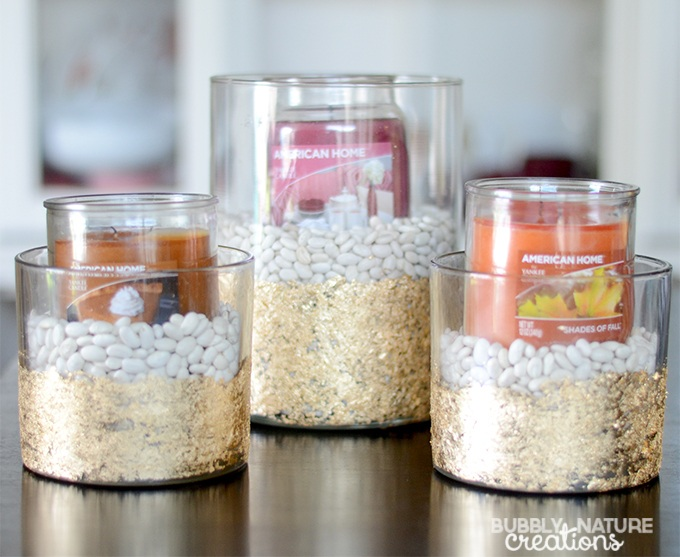 Modern Fall Decor with Gold Leaf Candle Holders (Tutorial)